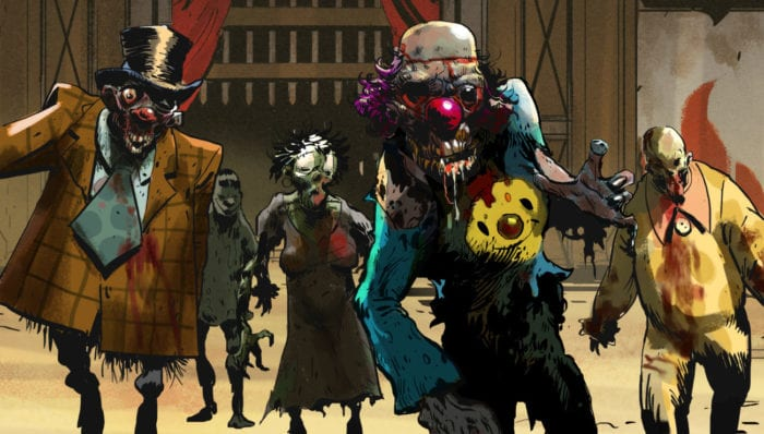 A ghoulish group of clowns make their way toward the camera, promoting bright colors and blood on their attire