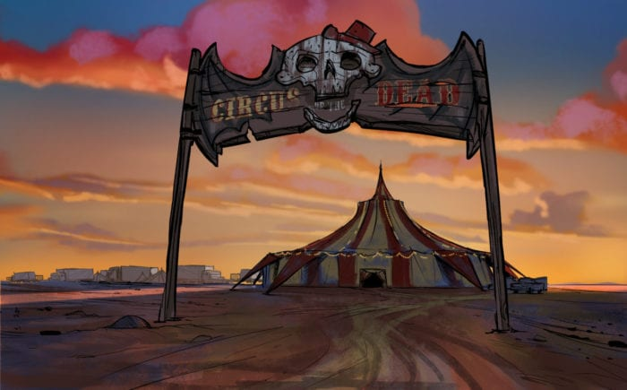 The road leading up to the Circus of the Dead has an archway that bears its name