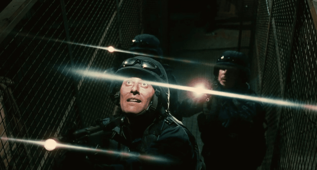 SWAT members at the electrified staircase