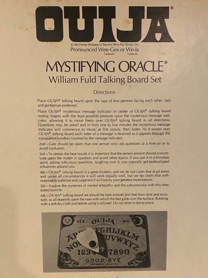 rules on the back of the parker brothers ouija box