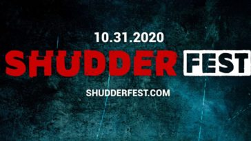 """10.31.2020, ShudderFest, Shudderfest.com"" written overtop a black background decorated with dark teal accents."