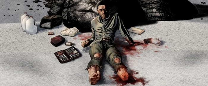 Pinzetti sits on with his back against a rock after amputating his infected foot, surrounded by a water jug, a bag of heroin, and his medical tools on his right and his lost limb on his left.