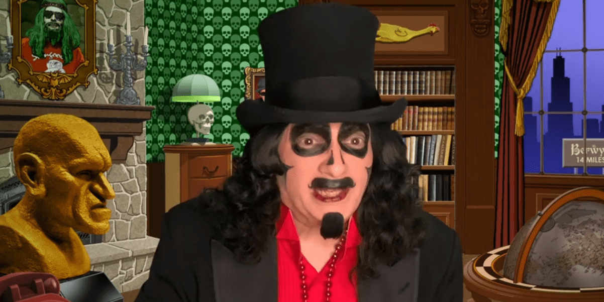 """Svengoolie (Rich Koz) appears in a commercial for his showing of """"The Devil-Doll"""" (1936) on MeTV."""