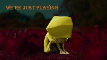 Six, in her yellow rain coat, sits in a pumpkin patch