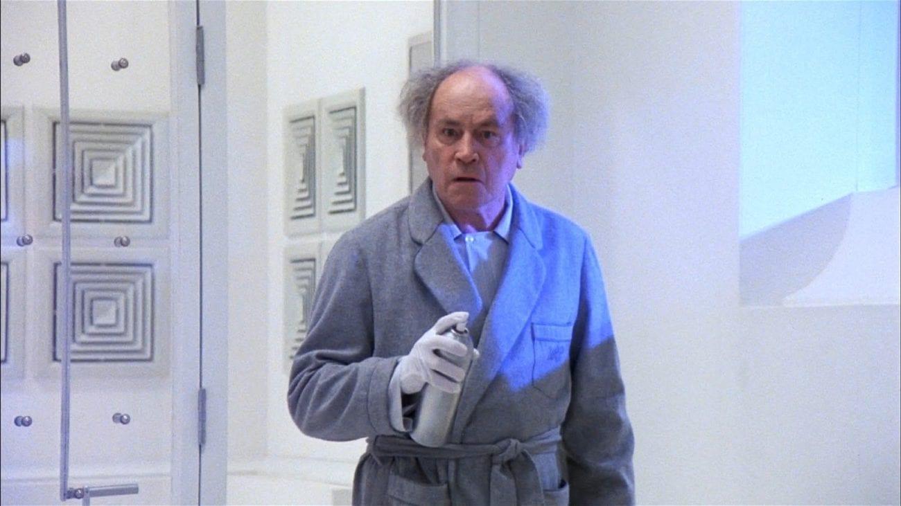 Pratt holding a spray can
