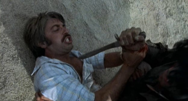 Doug, a large knife inches from piercing his throat, mustachioed and teeth clenched, his back against a large rock, desperately fends off the attack by gripping the arm of the attacker, of whom we only clearly see a hand.