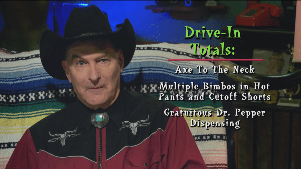 Joe Bob Briggs listing the drive-in totals on the LDI