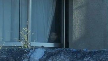 A creepy face stares out a window