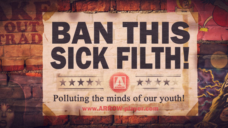 Ban This Sick Filth promotional banner in the style of a fly poster on a wall.