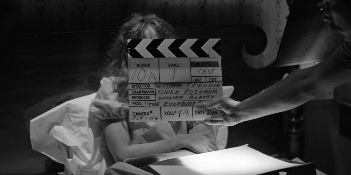 Clapper board for a take on The Exorcist set