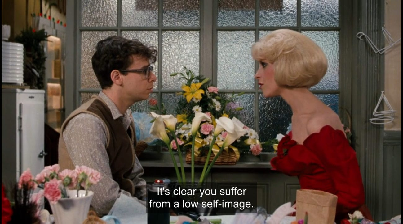 """Audrey (Ellen Green) tells Seymour Krelborn (Rick Moranis), """"It's clear you suffer from a low self-image,"""" in the film, """"Little Shop of Horrors"""" (1986)."""