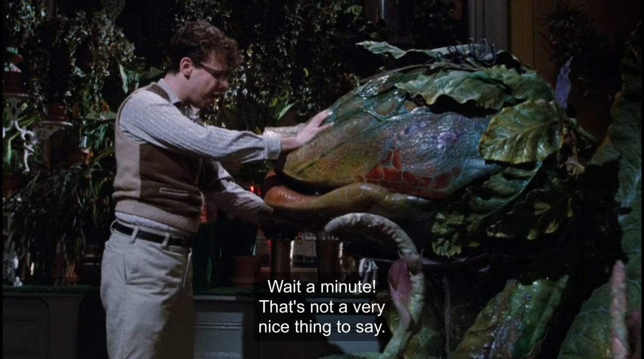 """Seymour Krelborn (Rick Moranis) holds carnivorous plant Audrey II's (Levi Stubbs) mouth shut, yelling, """"Wait a minute! That's not a very nice thing to say!"""", in the film, """"Little Shop of Horrors"""" (1986)."""