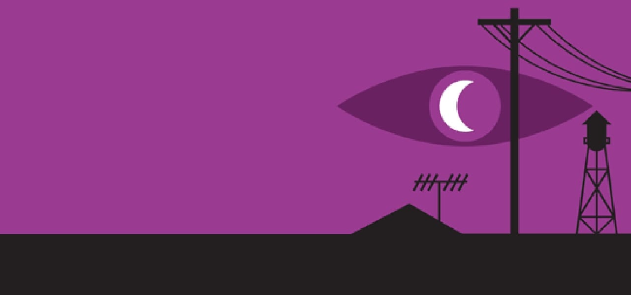 Logo for Welcome to Night Vale. An eye floats in the sky with a crescent moon as its pupil. Silhouetted below is a mountain or pyramind, power lines, an antenna, and a water tower. The logo is a deep magenta.