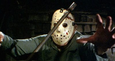 Jason appears to be upset after taking an ax to the head in Friday the 13th Part III