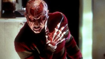 Freddy Krueger as he appears in New Nightmare with no hat and blades for nails.