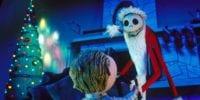 Jack Skellington dressed as Santa giving a boy a present