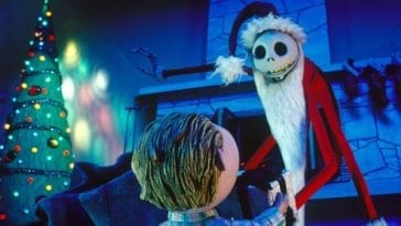 Jack Skellington dressed as Santa giving a boy a present