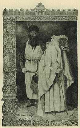 An image of Frau Perchta in white clothing, carrying a cane, with a distorted face, stands in front of a man in an apron holding a woven basket.