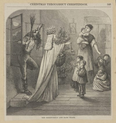 Hans Trapp sneaks through a window behind a figure of a woman giving children candy, other children can be seen cowering behind their mother in the picture