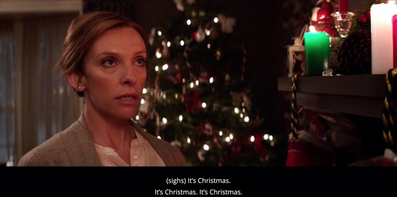 "Sarah Engel (Toni Collette) sighs and whispers to herself, ""It's Christmas. It's Christmas. It's Christmas,"" in the film, ""Krampus"" (2015)."