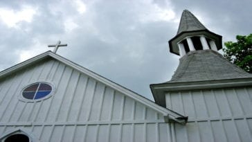 A close up shot of the St Philips Episcopal Church in the town where the murders happened.