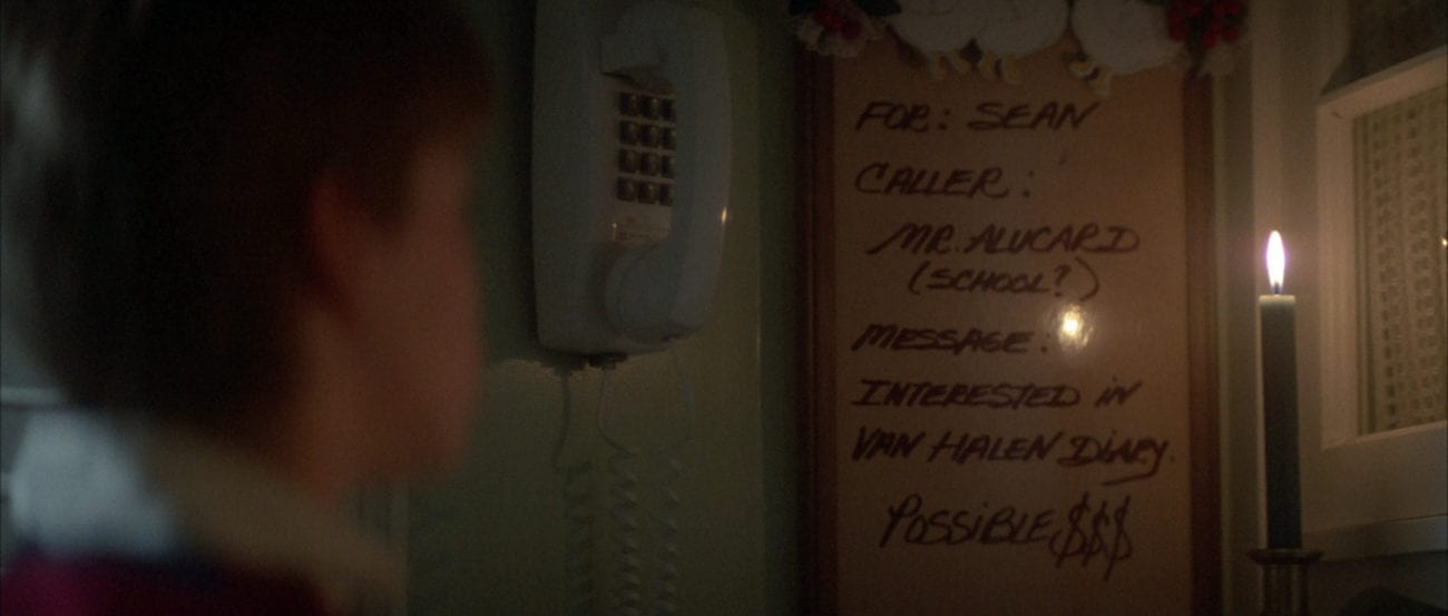 "A whiteboard reads, ""Mr. Alucard,"" in the film, ""The Monster Squad) (1987)."