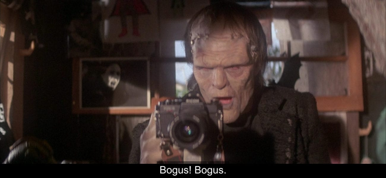 "The Frankenstein monster (Tom Noonan), says, ""Bogus! Bogus,"" in the film, ""The Monster Squad"" (1987)."