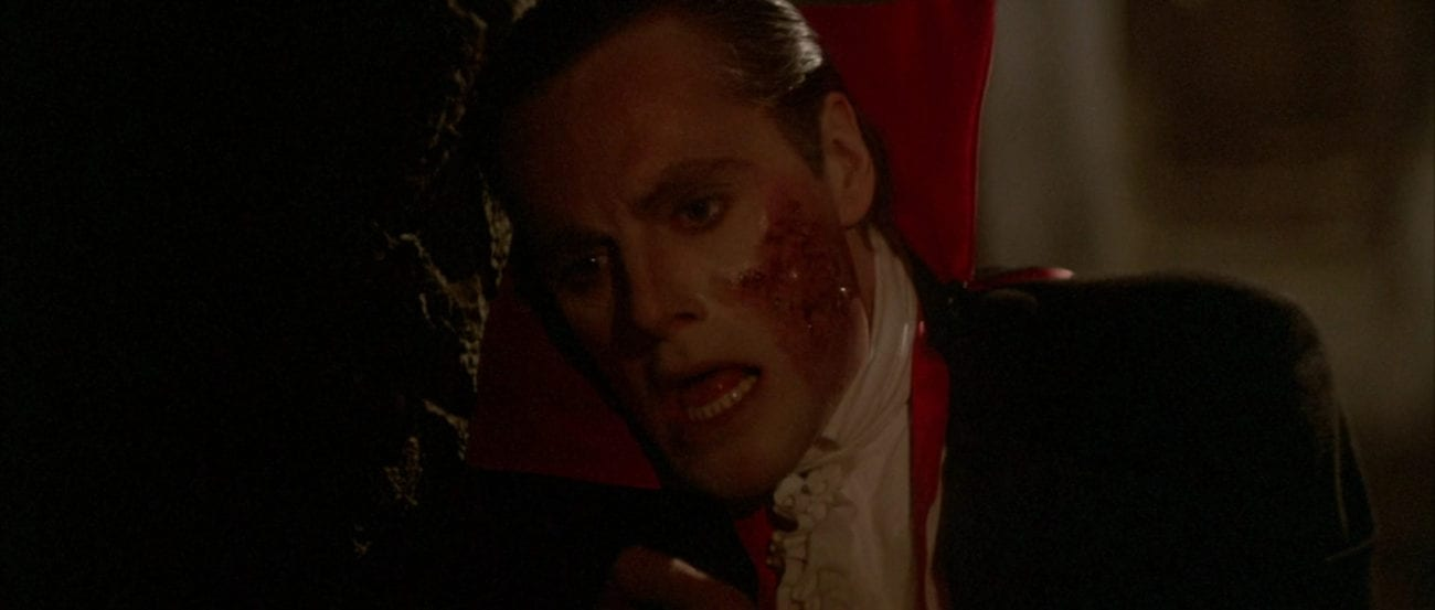 "Count Dracula (Duncan Regehr) has a burned cheek in the film, ""The Monster Squad"" (1987)."