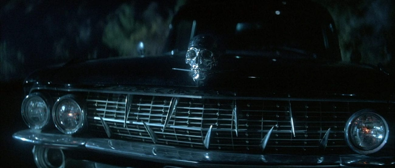 "A black car with a silver skull hood ornament in the film, ""The Monster Squad"" (1987)."