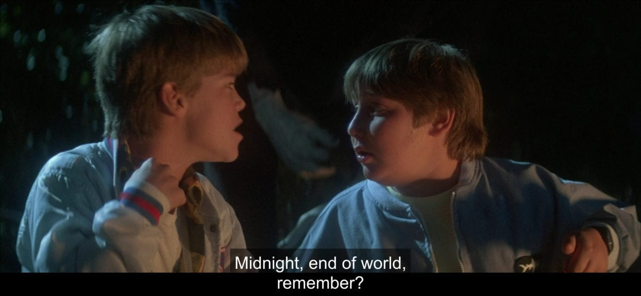 "Sean Crenshaw (André Gower) tells Horace (Brent Chalem), ""Midnight, end of world, remember?"", in the film, ""The Monster Squad"" (1987)."