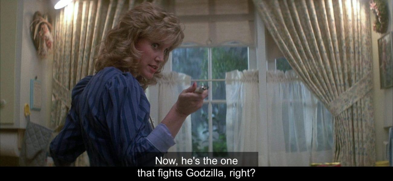 """Emily Crenshaw (Mary Ellen Trainor) says, """"Now he's the one that fights Godzilla, right?"""", in the film, """"The Monster Squad"""" (1987)."""