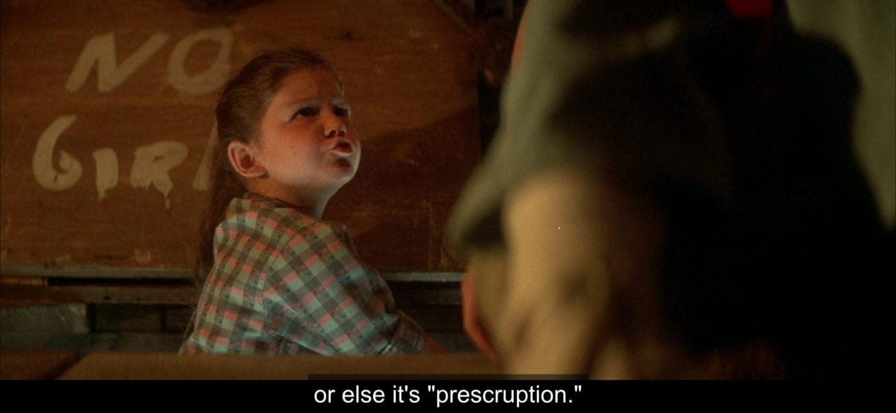 """Phoebe Crenshaw (Ashley Bank) says, """"or else it's 'prescruption,'"""" in the film, """"The Monster Squad."""""""