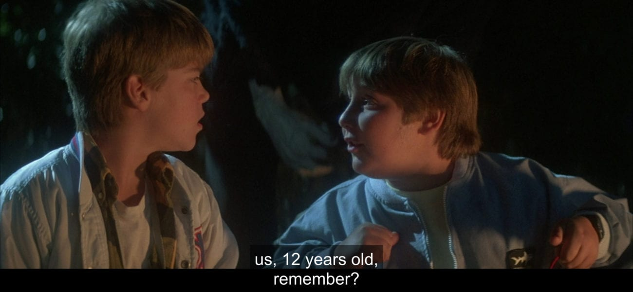 "Horace (Brent Chalem) tells Sean Crenshaw (André Gower), ""Us, 12 years old, remember?"", in the film, ""The Monster Squad"" (1987)."
