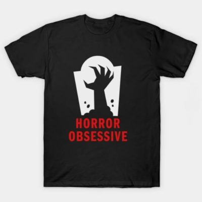 Adult-sized tee shirt with Horror Obsessive logo