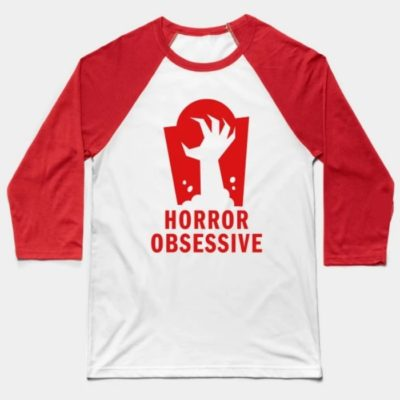 Baseball tee shirt with Horror Obsessive logo