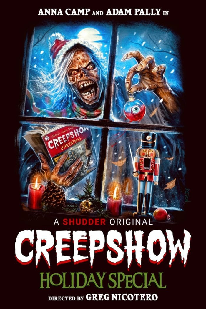 The animated decaying corpse that is the Creepshow presenter, holds an ornament containing an eyeball in his left hand and the Creepshow Christmas comic book in his right while peering through a window with candles, pinecones, and a nutcracker in it