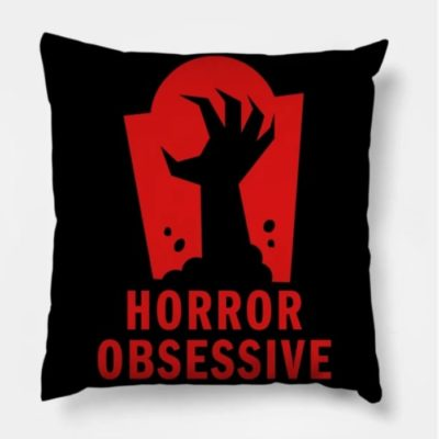 Pillow with Horror Obsessive logo