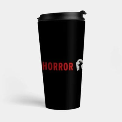 Travel mug with Horror Obsessive logo