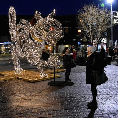 Woman stands in front of large decorative depiction of Yule Cat with sharp claws made of Christmas lights.