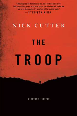 the cover of a novel, bright red with a black hill. a lone figure is off in the distance. the title NICK CUTTER THE TROOP is displayed in the red sky