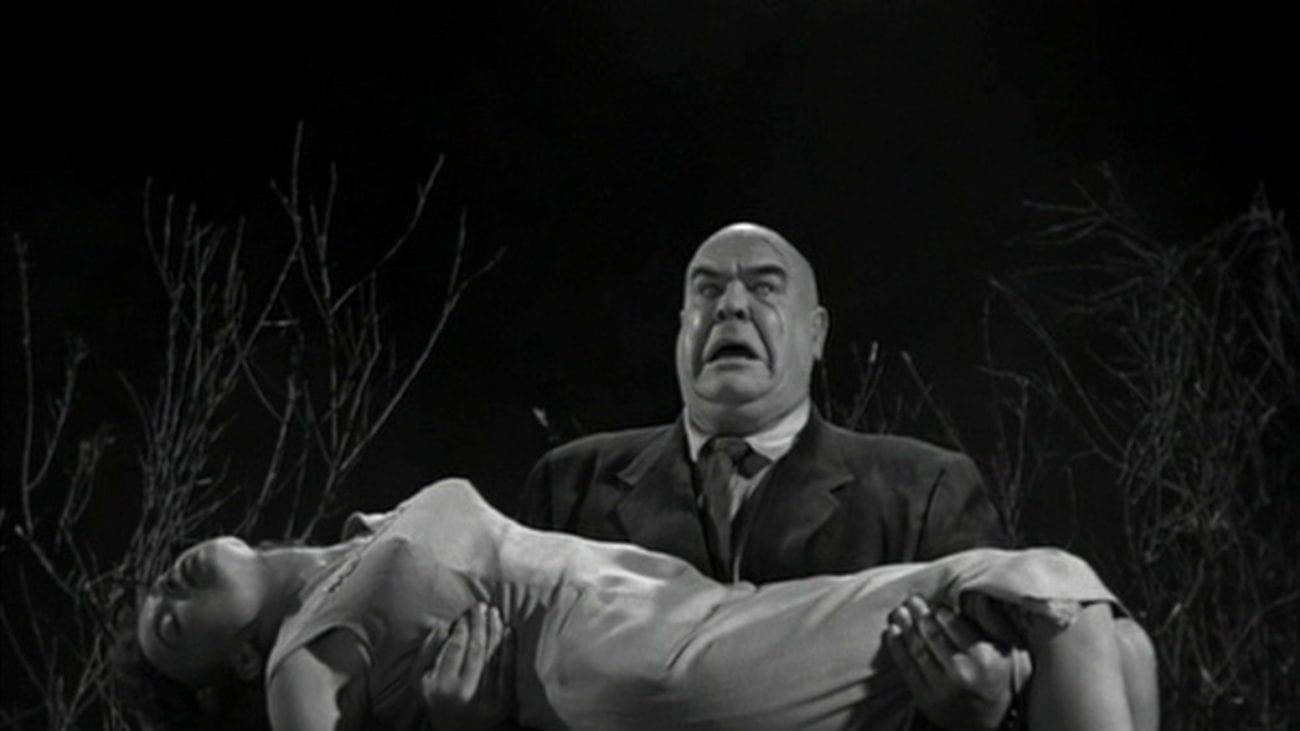 Tor Johnson in Plan 9 From Outer Space, walks off with the leading lady in his arms. She is unconscious.