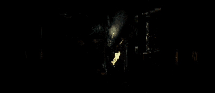 the light of a flame illuminates the xenomorph alien's face