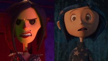 Animated depictions of a woman with buttons for eyes looking menacing and a young girl with blue hair looking suprised.