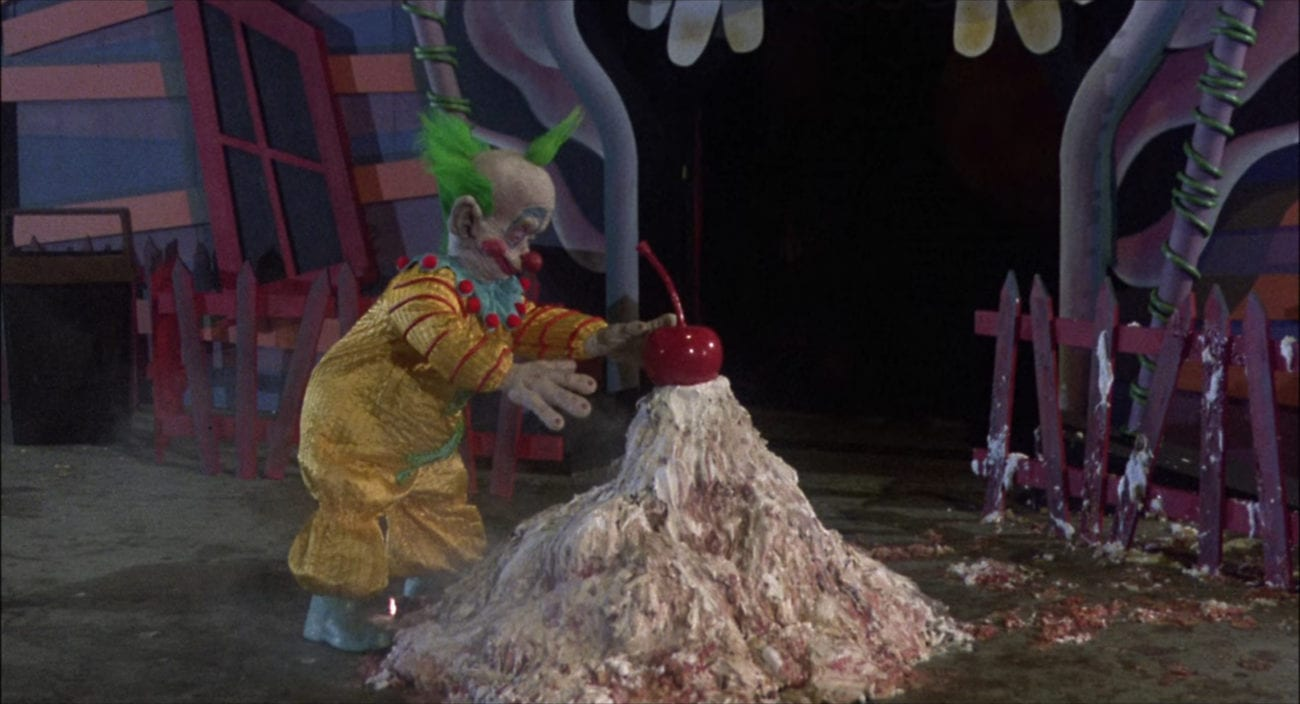 """Shorty the Clown puts a giant cherry on top of a gooey pile of acid pies that melted a security guard in the film, """"Killer Klowns from Outer Space"""" (1988)."""