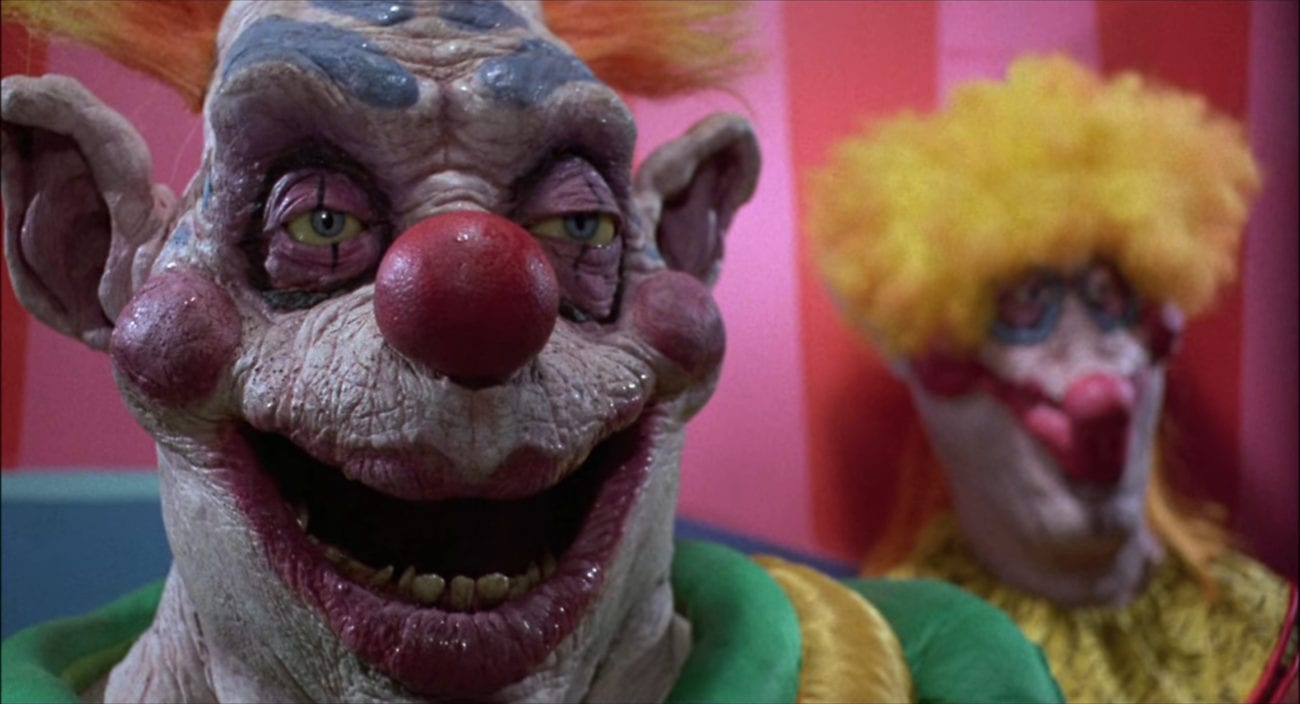 """Bibbo the Clown gapes in surprised in the film, """"Killer Klowns from Outer Space"""" (1988)."""