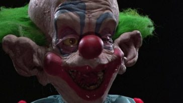 "Shorty the Clown gapes in surprised in the film, ""Killer Klowns from Outer Space"" (1988)."