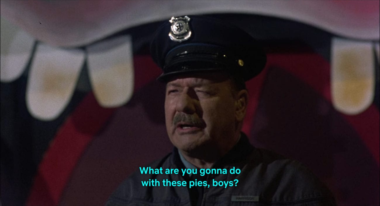 """A security guard (David Piel) asks, """"What are you gonna do with those pies, boys?"""" in the film, """"Killer Klowns from Outer Space"""" (1988)."""