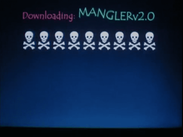 A computer screen displays the words Downloading MANGLERv2.0 with several skull and crossbone icons underneath