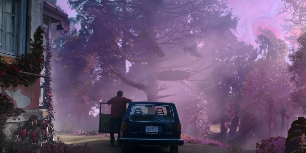 A man stands outside of his car in front of trees and looks at purple mist.