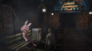 Heather Mason stands in front of a bloody Robbie the Rabbit in Silent Hill 3